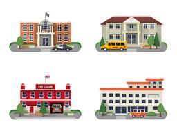 Set di edifici comunali vettore
