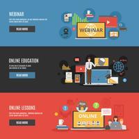 Insegne orizzontali piane di istruzione online vettore