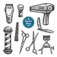 Barber Shop Set Doodle Sketch Icons vettore