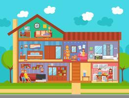 Concetto di interior design per la casa di famiglia vettore