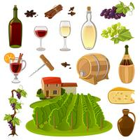 Set di icone del fumetto del vino vettore