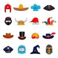 Set di icone piane divertenti copricapo vettore