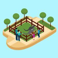 Illustrazione isometrica di Zoo vettore