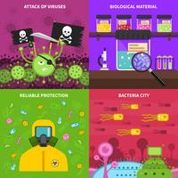 Set di concetto di microbiologia vettore