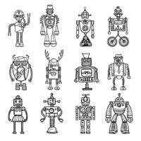 Set di icone nero stile doodle robot vettore