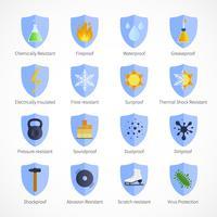 Emblemi a colori piatto a prova di protezione vettore