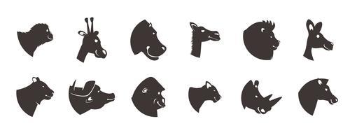 Set di sagome di teste di animali vettore