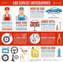 Banner di infografica piatta servizio riparazione auto