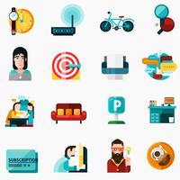 Set di icone di coworking vettore