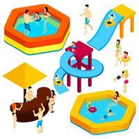Insegna isometrica degli ospiti del parco di divertimenti dell'acqua