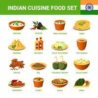 Set di cibo cucina indiana vettore