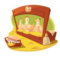 Concetto del fumetto di gallina e uova vettore