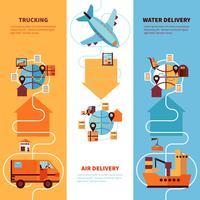 Set di banner verticali di logistica vettore