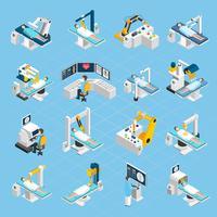 Set di icone isometriche di chirurgia robotica vettore