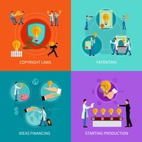 Insieme di concetti di design della proprietà intellettuale vettore