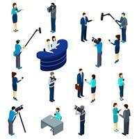 Set di icone isometriche di lavoro giornalista vettore