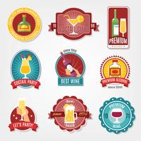Set di design di etichette di alcol vettore