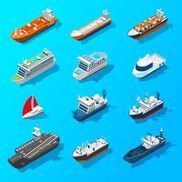 Insieme isometrico dell'icona delle navi dei crogioli di navi vettore