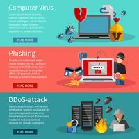 Set di banner orizzontale hacker