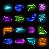 Set di frecce al neon vettore