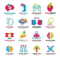 Set di icone logo relazione sociale