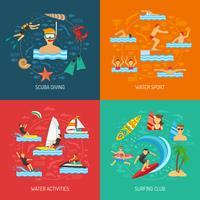 concetto di design sport acquatici 2x2 vettore