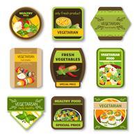 Emblemi colorati cibo vegetariano vettore