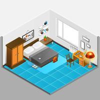 Illustrazione isometrica interna casa vettore
