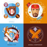 Set di icone di concetto di baseball vettore