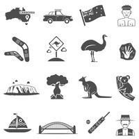 Set di icone bianco nero di Australia vettore