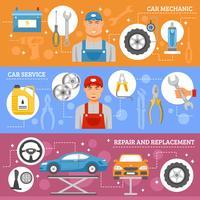 Set di banner piatto di servizio di riparazione auto vettore
