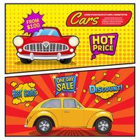 Le vendite di auto in stile fumetto banner