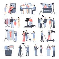 Set di icone operatore e pressman