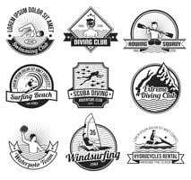 Set di etichette nere per sport acquatici vettore