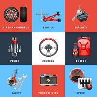 Icone piane di concetto di servizio dell'automobile messe