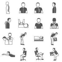 Malattie della colonna vertebrale Icone nere