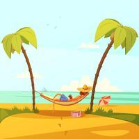 Illustrazione dell'uomo sulla spiaggia vettore