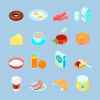 Insieme piano dell'icona di cibo e bevande di prima colazione