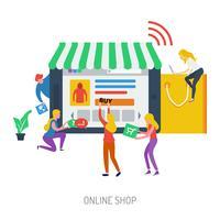 Progettazione dell'illustrazione concettuale del negozio online vettore