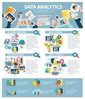 Poster piatto di elementi di infografica analisi dei dati