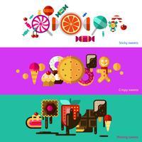 Set di banner di dolci vettore