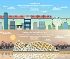viaggio culturale di Singapore 2 bandiere piatte