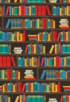 Book Shelves Dtcorative Colorful Icon Poster