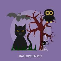 Disegno concettuale dell'illustrazione dell'animale domestico di Halloween vettore