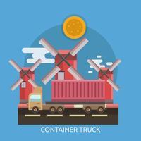 Progettazione concettuale dell'illustrazione del camion del contenitore