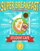 Illustrazione di poster colazione vettore
