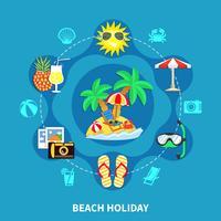 Composizione rotonda di icone di vacanza