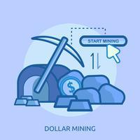 Progettazione concettuale dell'illustrazione di estrazione mineraria di Bitcoin