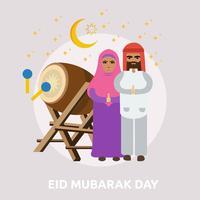 Progettazione concettuale dell'illustrazione di giorno di Eid Mubarak vettore