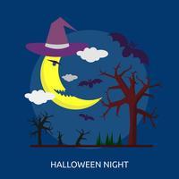 Disegno concettuale dell'illustrazione di notte di Halloween vettore